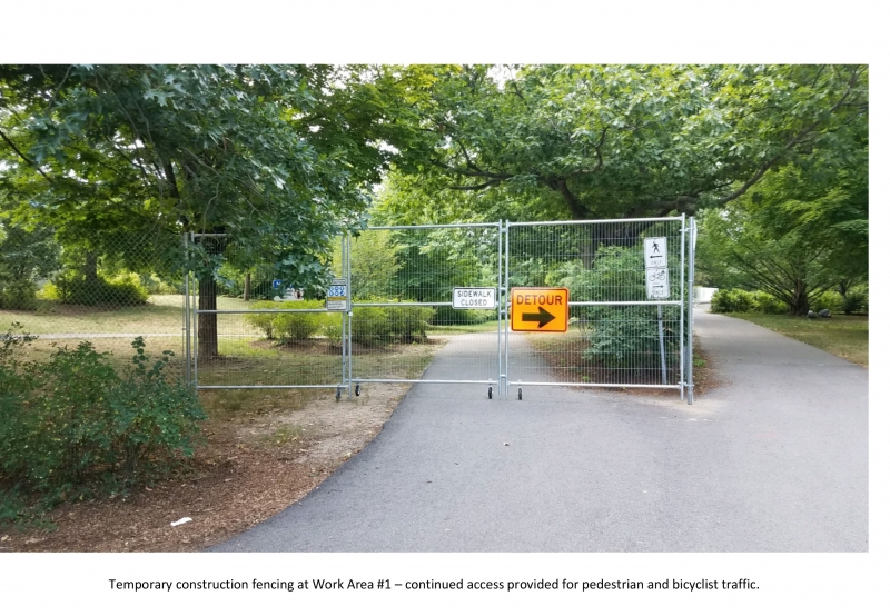 Temporary construction fencing at Work Area #1 – continued access provided for pedestrian and bicyclist traffic.