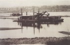 This 1882 photograph shows the dredging of the northern basin of the Fens, which was necessary to provide storage for floodwaters. (Boston Park Commission Report, 1883.)
