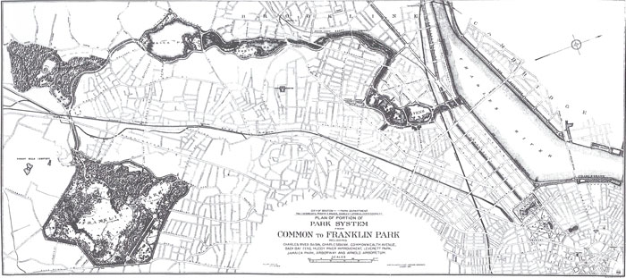 Franklin Law Olmsted and his firm were responsible for the parks and parkways from the Charles River to Roxbury and Dorchester, as shown on this 1894 plan. The parks include the Back Bay Fens, the Riverway, Olmsted Park, Jamaica Pond, Arnold Arboretum, and Franklin Park. (Plan of Portion of Park System from Common to Franklin Park, 1884, Collection of the National Park Service, Frederick Law Olmsted National Historic Site, Brookline, Massachusetts)