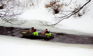 Cruising Down the Muddy River on a Snowy Morning