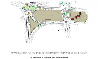 Work site plan for 5 Dec 2015 traffic pattern changes for Brookline Avenue, Park Drive, Riverway and permanent closure of Jug Handle Roadway. (Photo by Ed Buczek)